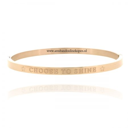 quote armband roestvrij staal choose to shine goud roze