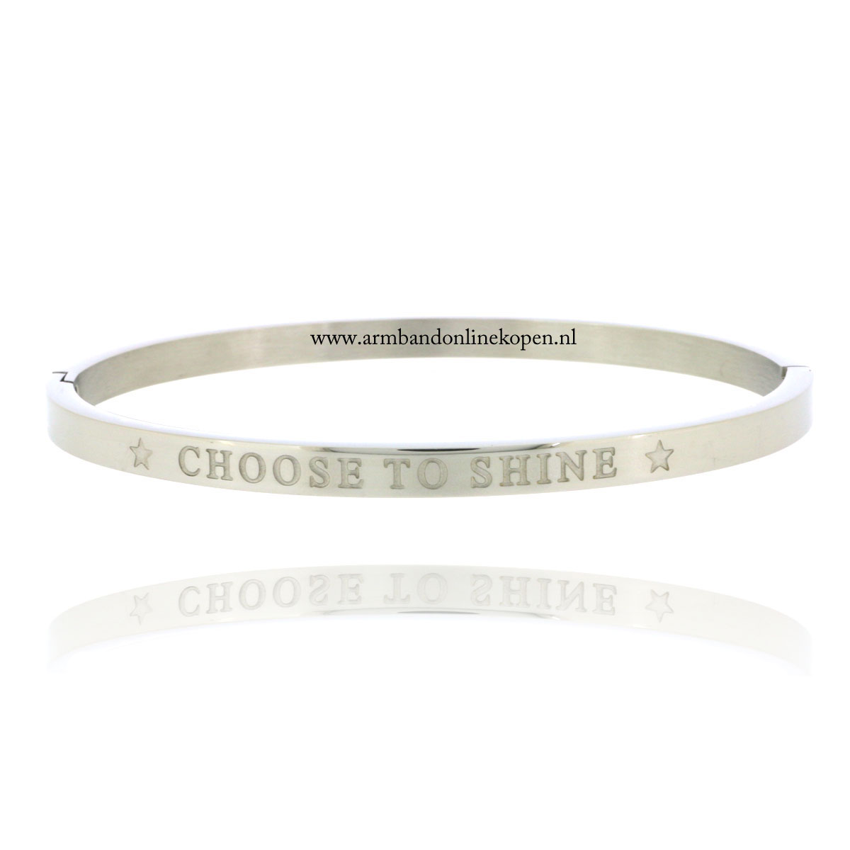 quote armband roestvrij staal choose to shine zilver