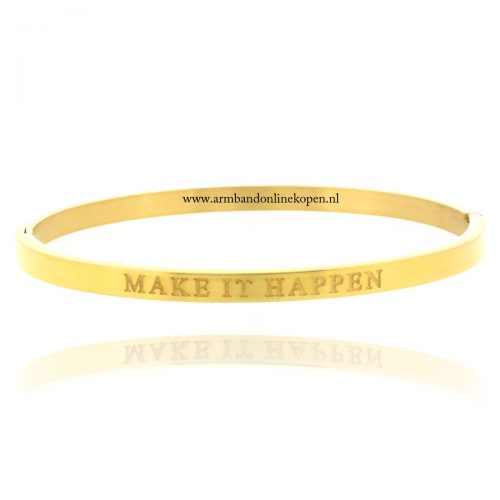 quote armband roestvrij staal make it happen goud