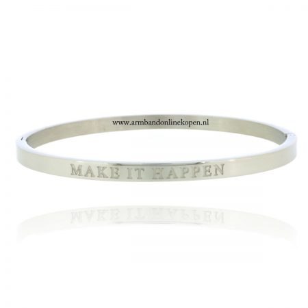 quote armband roestvrij staal make it happen zilver