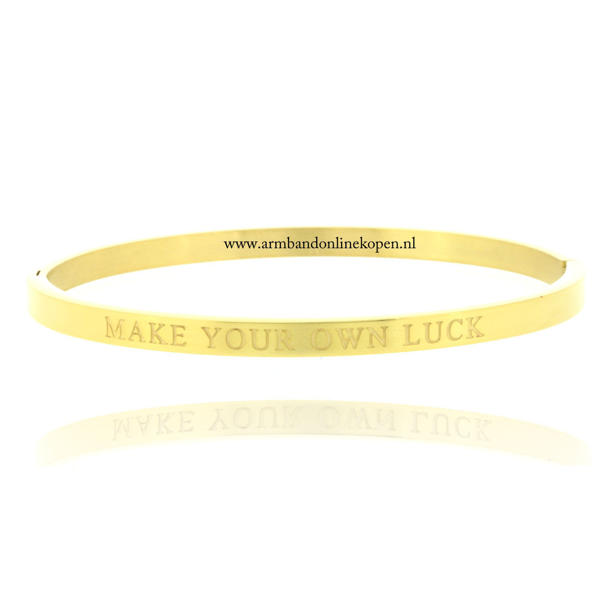 quote armband roestvrij staal make your own luck goud
