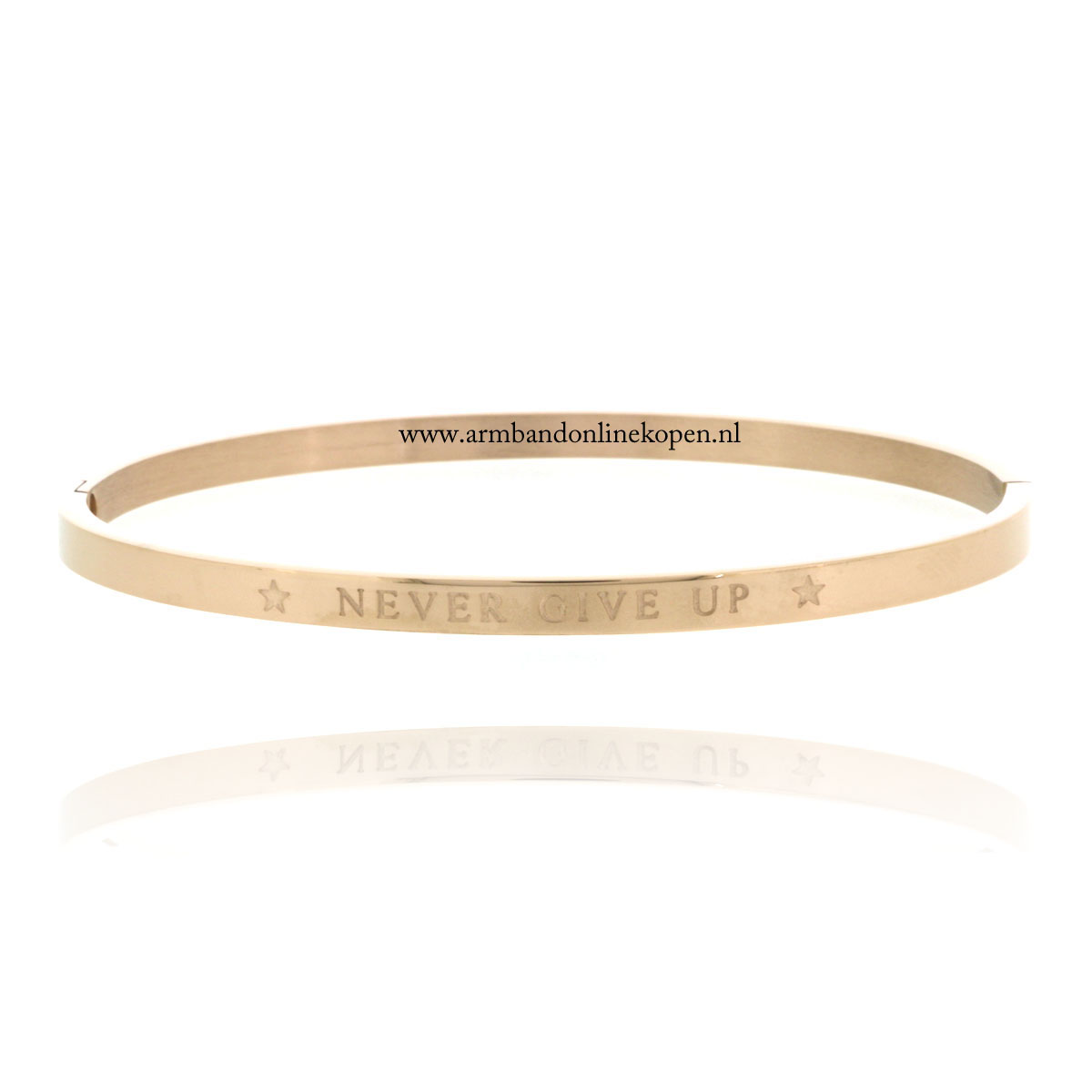 quote armband roestvrij staal never give up roze goud