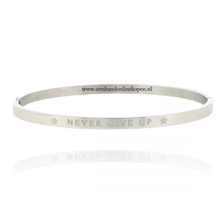 quote armband roestvrij staal never give up zilver