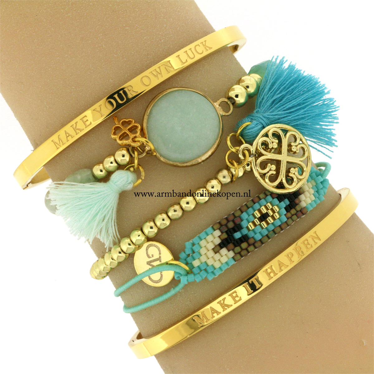 Make It Happen Quote Armband Goud