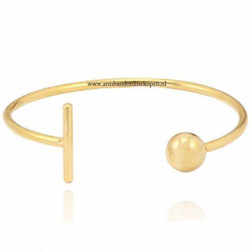 roestvrij staal armband bal en bar goud