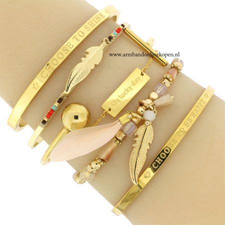 rvs armbanden inspirerende quotes goud armcandy