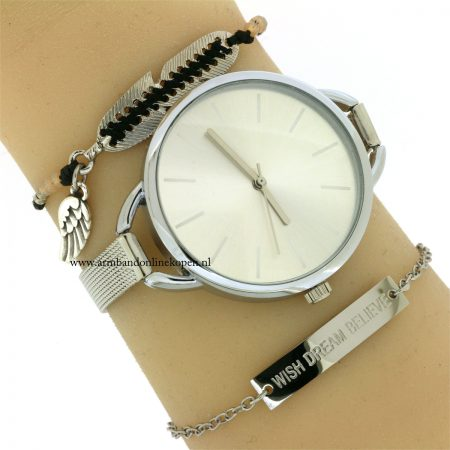 veer-armband-engelvleugel-zilver-zwart