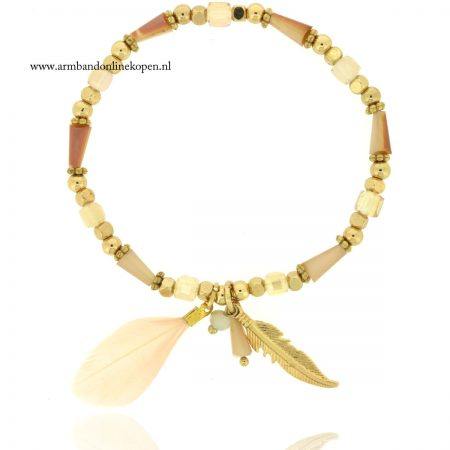 veer armband goud taupe