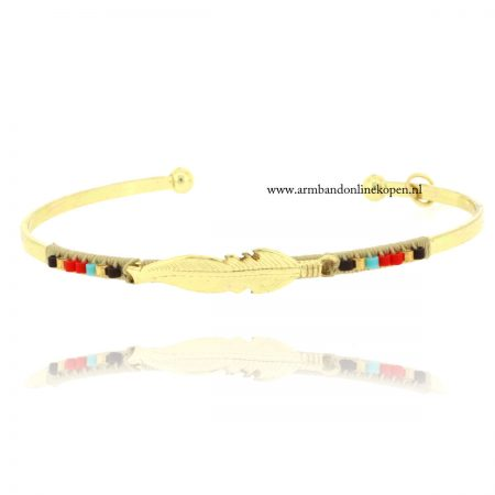 veer bangle armband goud met kraaltjes
