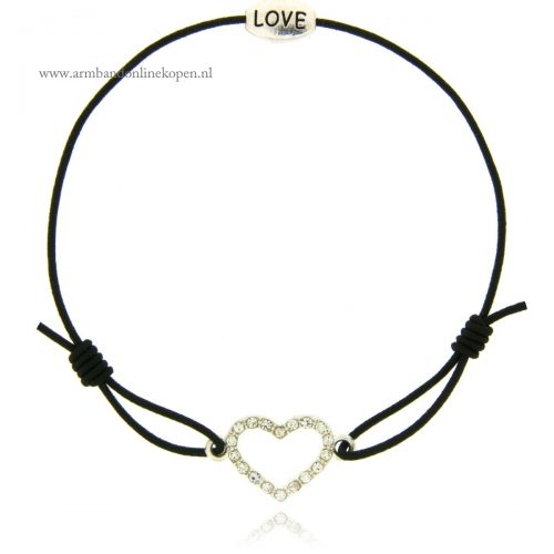armband love hart zilver strass
