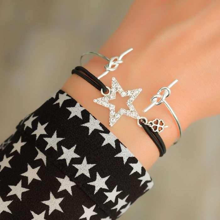 armband ster zilver geluks