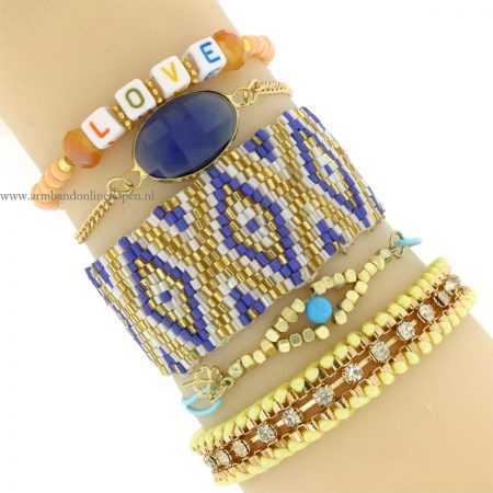 armbandjes set goud blauw geel