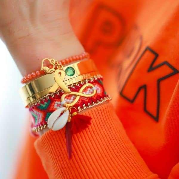 geboortesteen armband met steen en quote armband goud