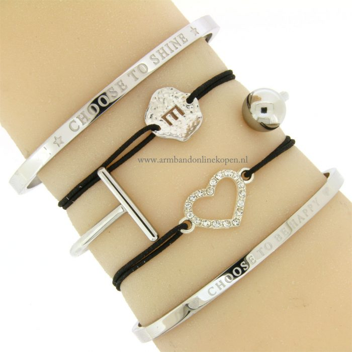 letter armband initiaal armband zilver hartje