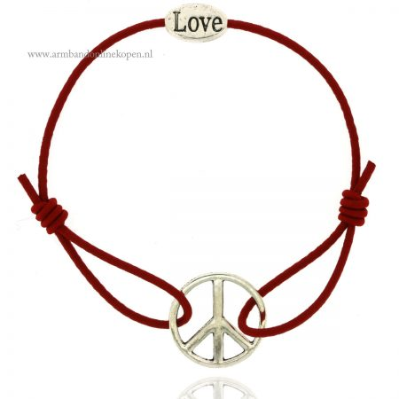 peace armband zilver donker rood