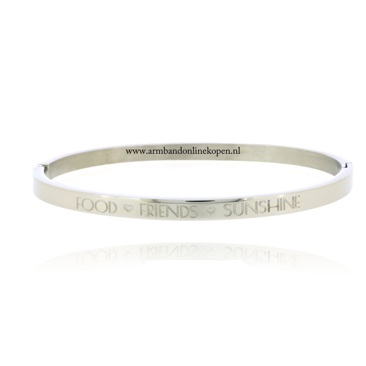 quote rvs armband food friends sunshine zilver