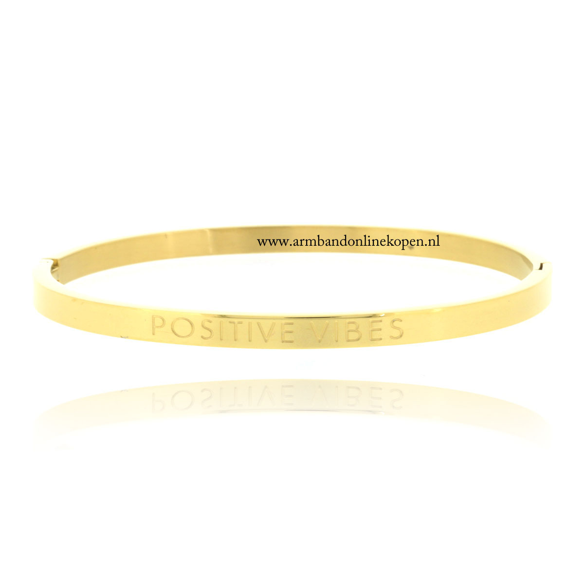 quote rvs armband positive vibes goud