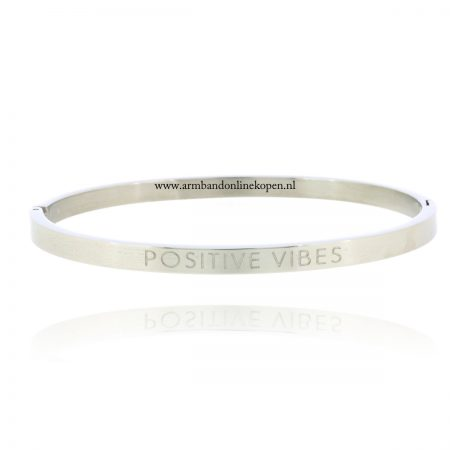 quote rvs armband positive vibes zilver