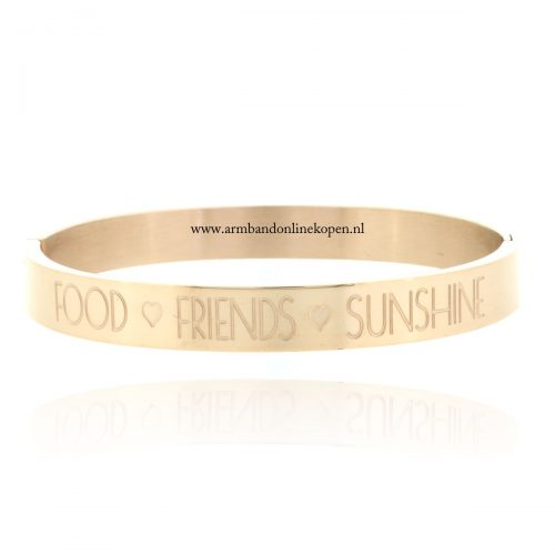 quote stainless steel armband food friends sunshine roze goud