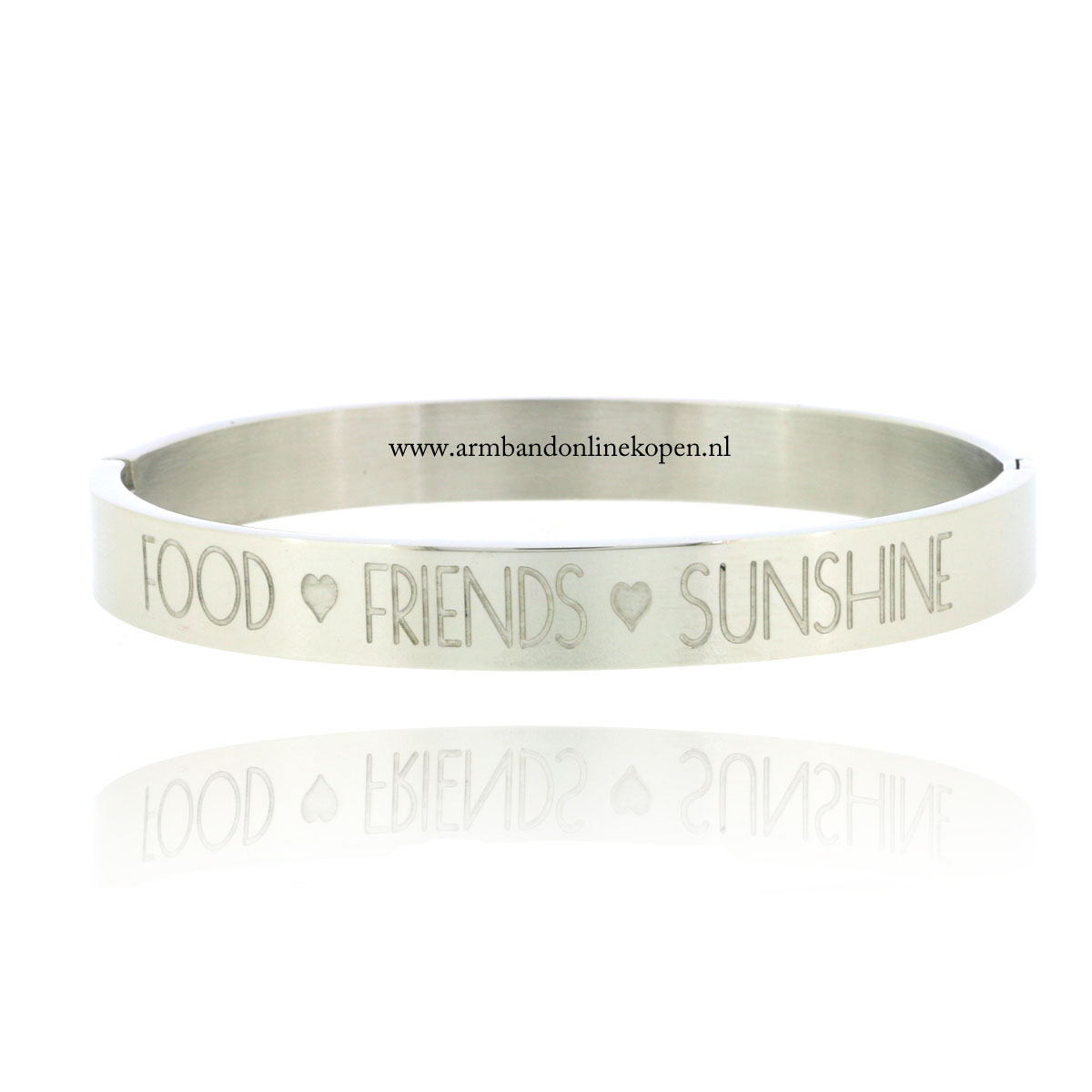 quote stainless steel armband food friends sunshine zilver