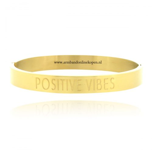 quote stainless steel armband positive vibes goud