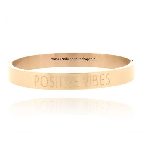 quote stainless steel armband positive vibes goud roze
