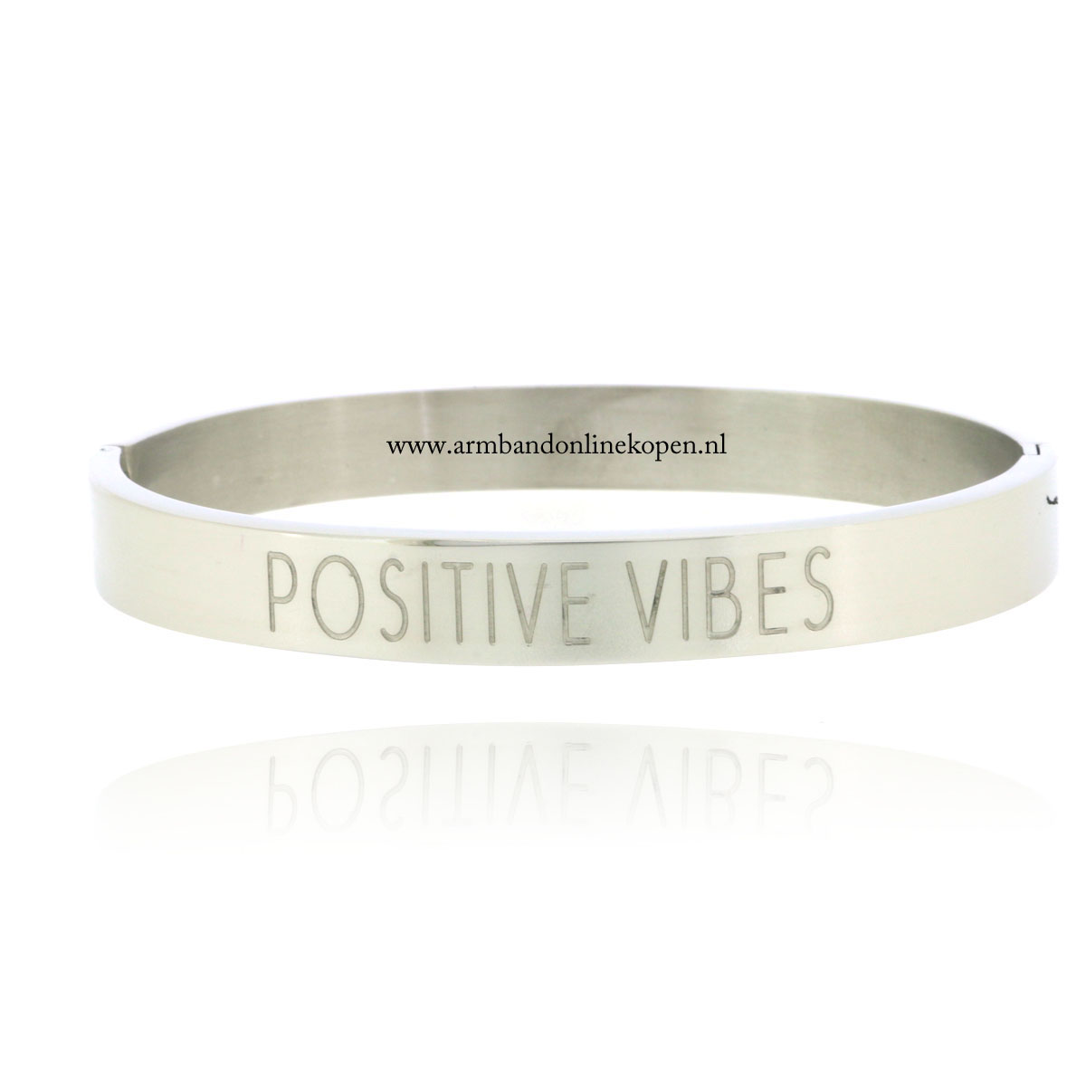 quote stainless steel armband positive vibes zilver