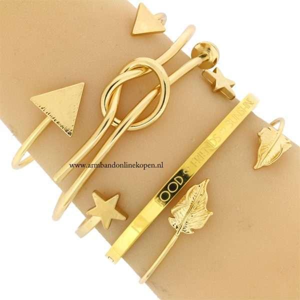 armbanden minimalistische goud armparty