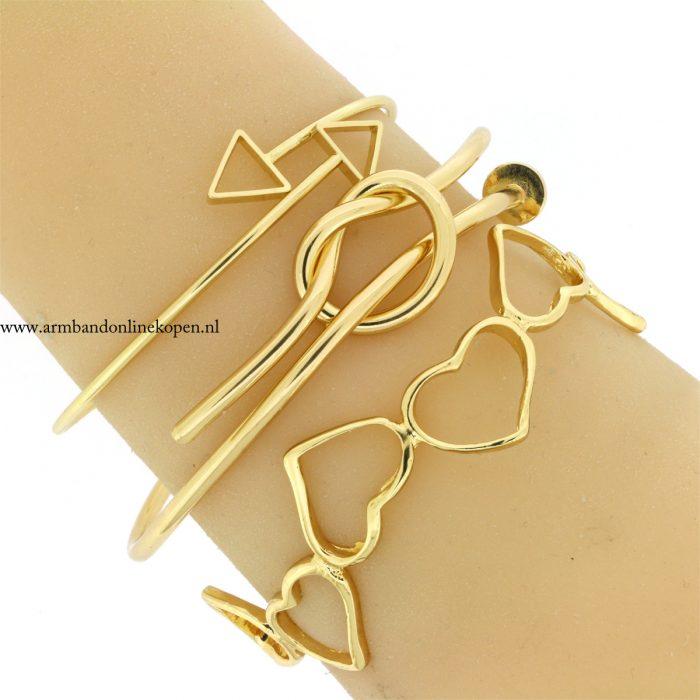 armbandjes hartjes knot goud