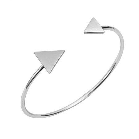 bangle armband minimalistisch triangel zilver