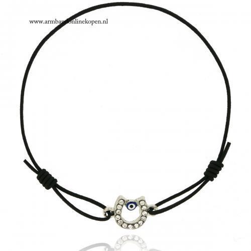 geluks-armband-hoefijzer-boze-oog-zilver-zwart