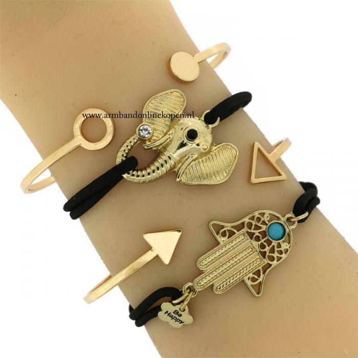 geluks armband olifantje zwart goud