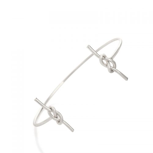 hippe armband knoop bangle zilver