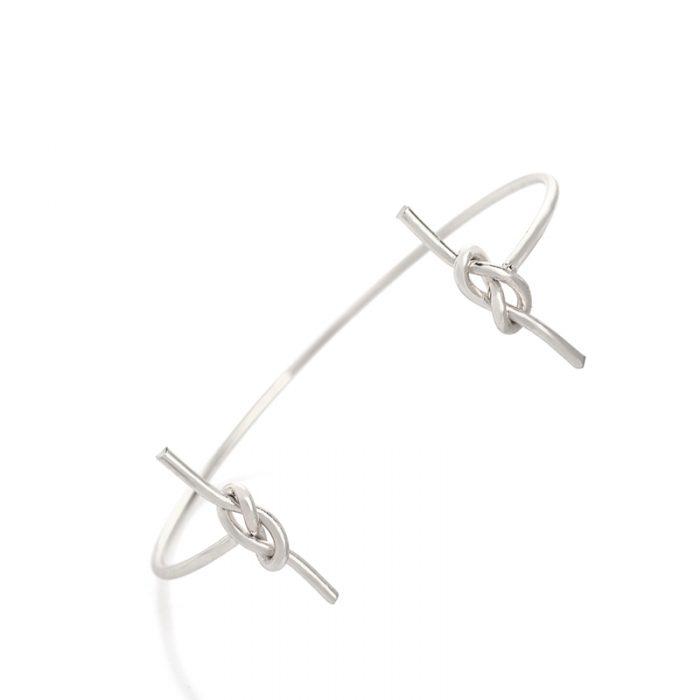 hippe armband knoop bangle zilver