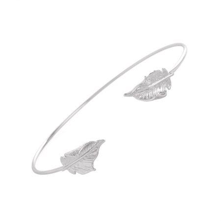 hippe armband veertjes zilver