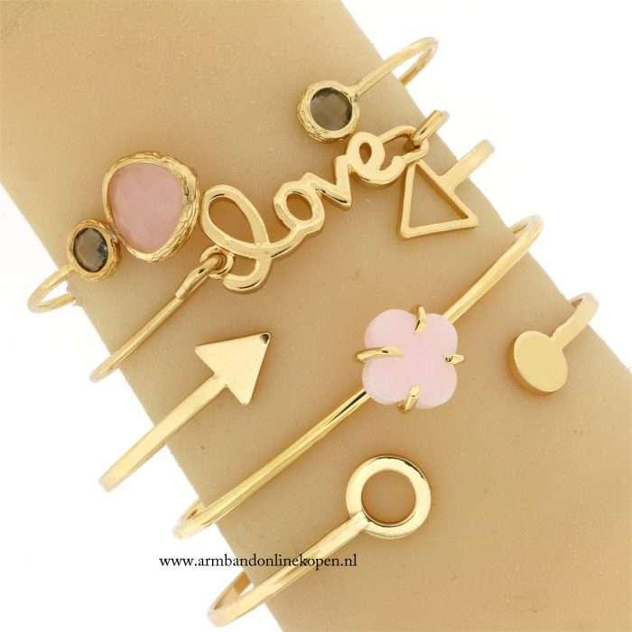 hippe minimalistische armbanden goud