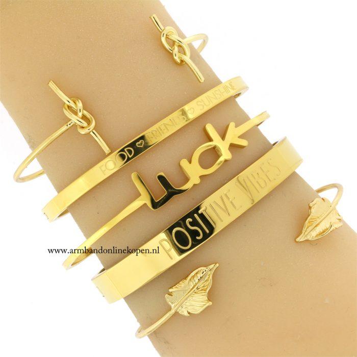hippe minimalistische quote armbanden goud