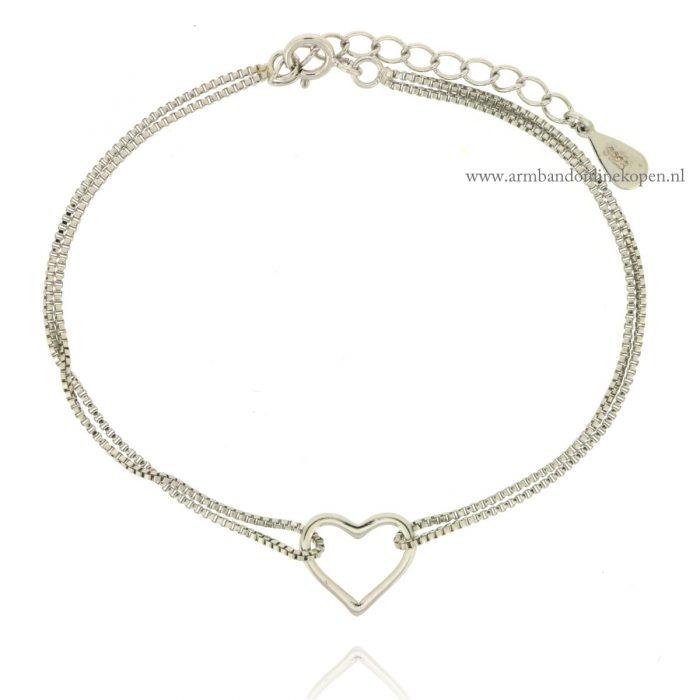 minimalistisch armbandje hartje zilver