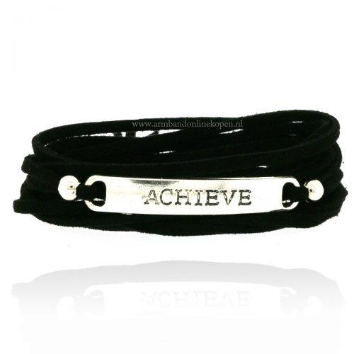 Achieve Armband Zwart Zilver