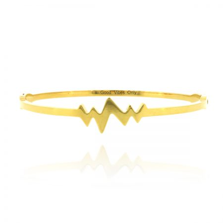good-vibes-only-armband-staal-heartbeat-goud