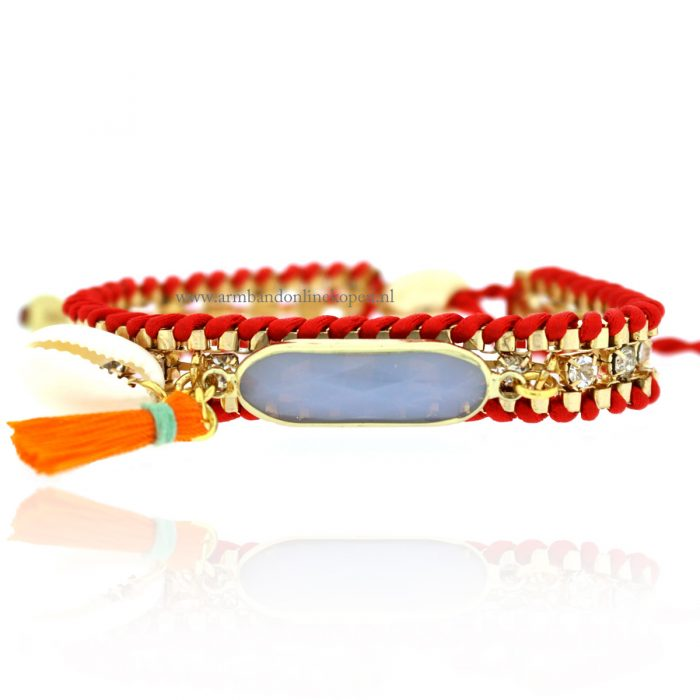 Ibiza Shimmering Strass Bracelet Red