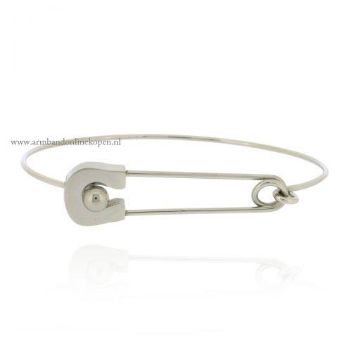 Safety Pin Bangle Silver