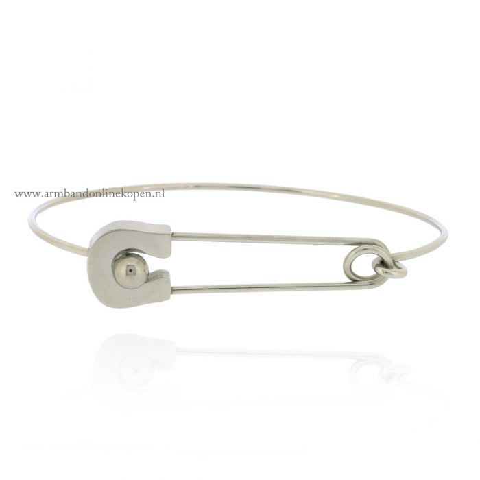 Safety Pin Bangle Silver