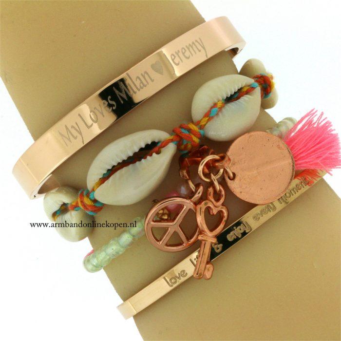 armband met naam gevraveerd staal rose goud