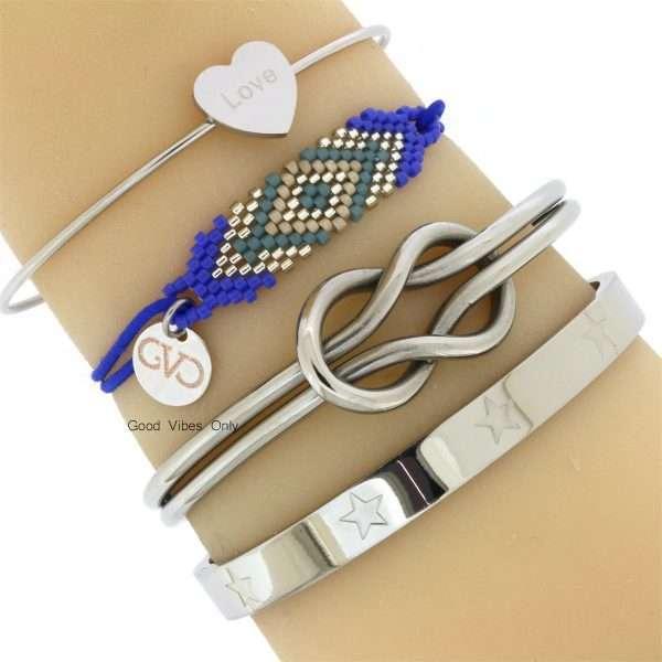 armbanden-denim-blue-zilver-love-hart-bangles