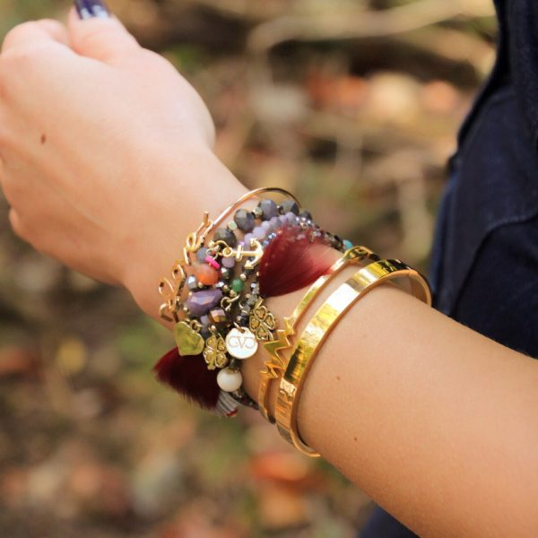 armbandenset-veer-bordeaux-good-vibes-only