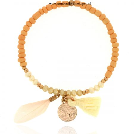 boho-armband-munt-veer-kwastje-rose-goud