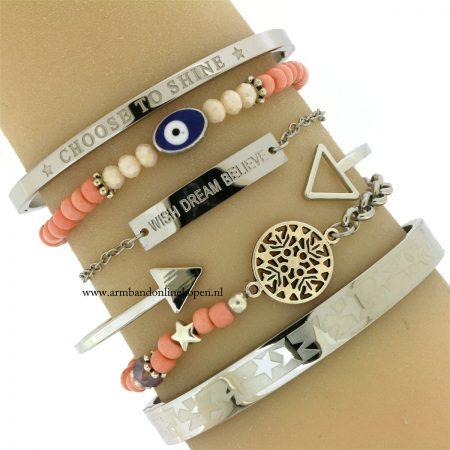 boze oog armband geluks armband zilver zalmroze kralen