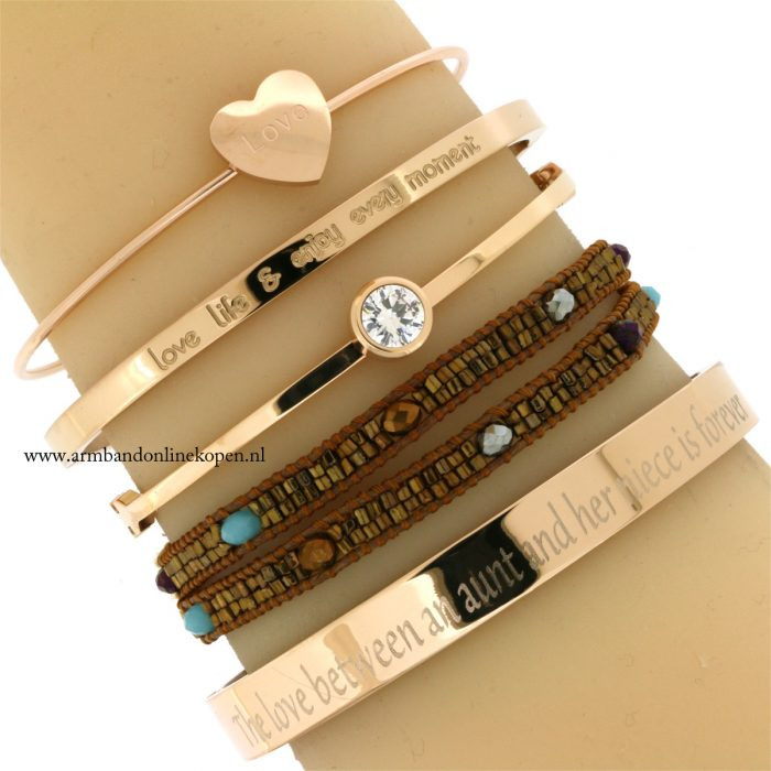 eigen tekst armband quote the love between an aunt and her nice is forever