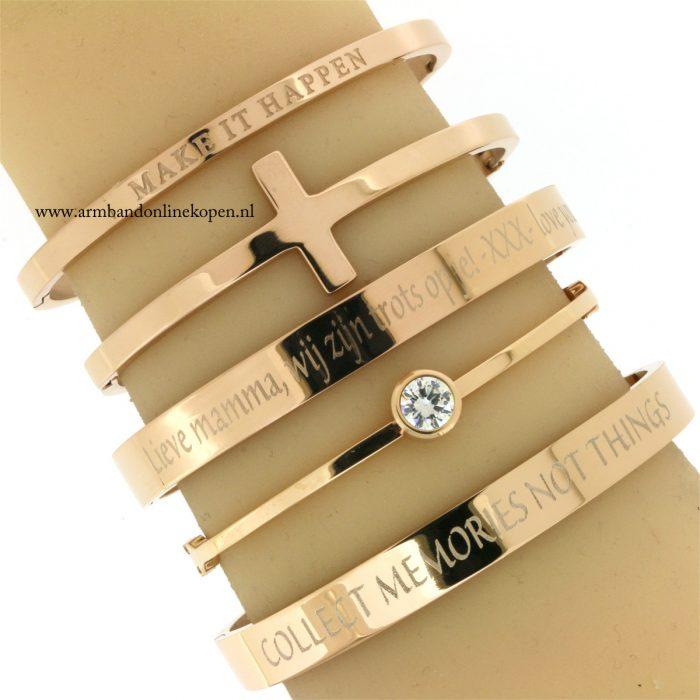 eigen tekst quote armband roze goud staal